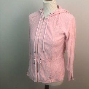 Tommy Bahama full zip hoodie pink cotton top S
